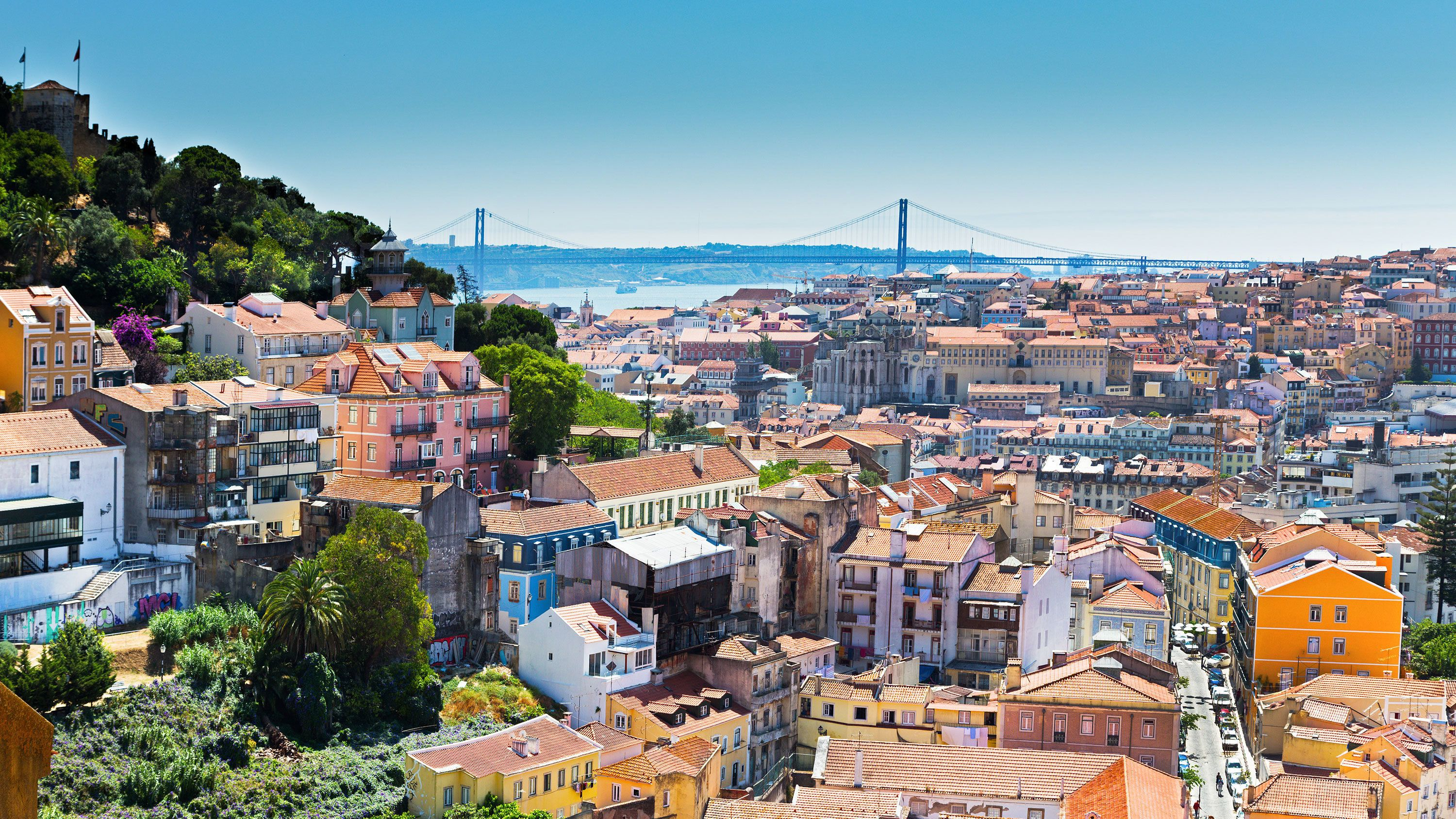 vibrant colored roofs in the city of Lisbon