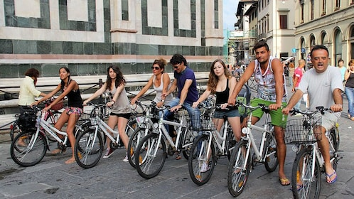 Group on bicycles on Electric Bike Tour in Italy