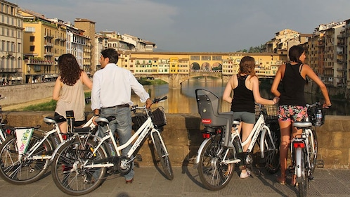 People at overlook on Electric Bike Tour in Italy