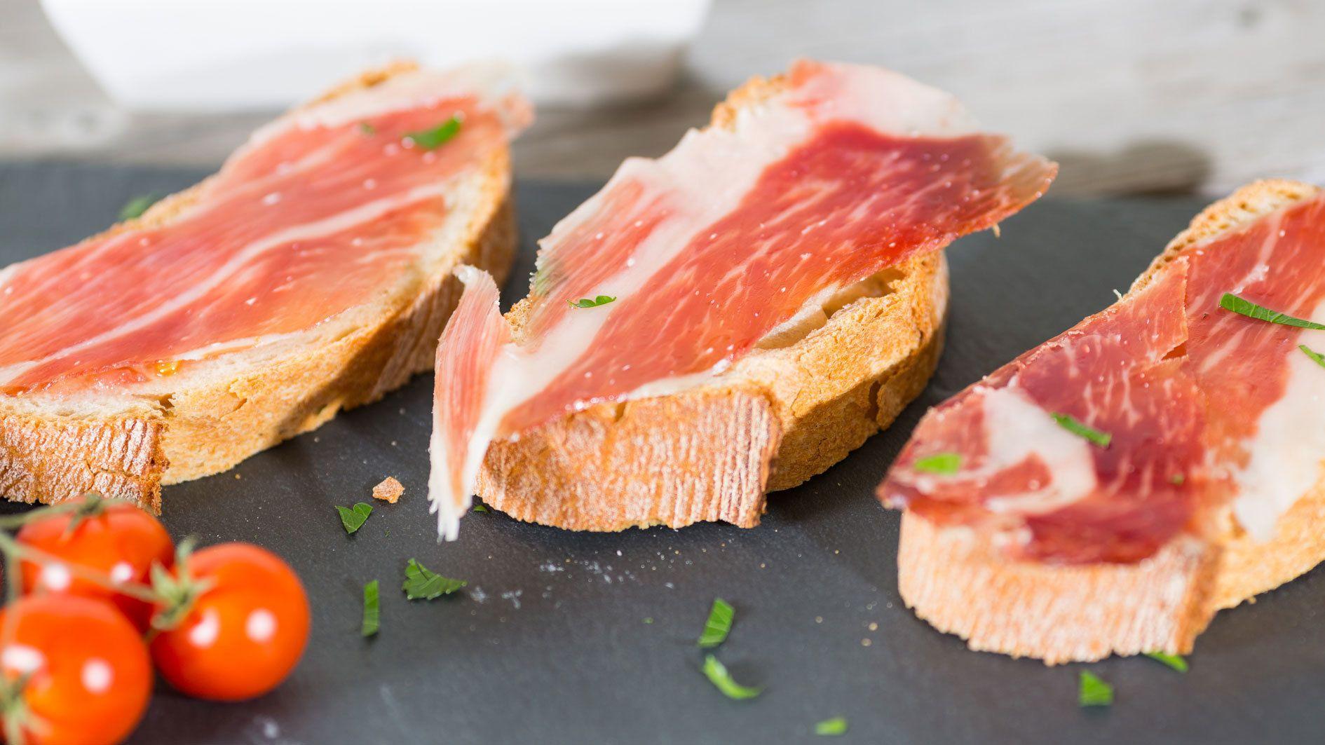 prosciutto on bread in Barcelona