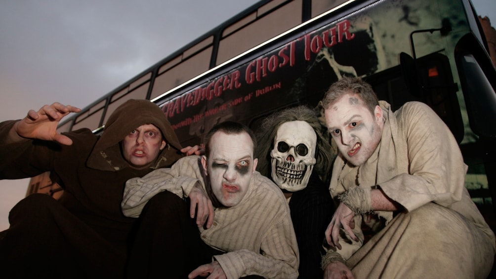 Charger l'élément 1 sur 7. men dressed as ghouls on a tour bus in Dublin