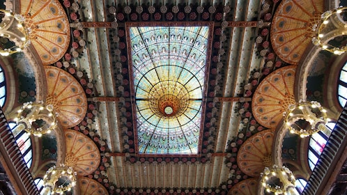 interior ceiling and chandeliers at Palace of Catalan in Barcelona