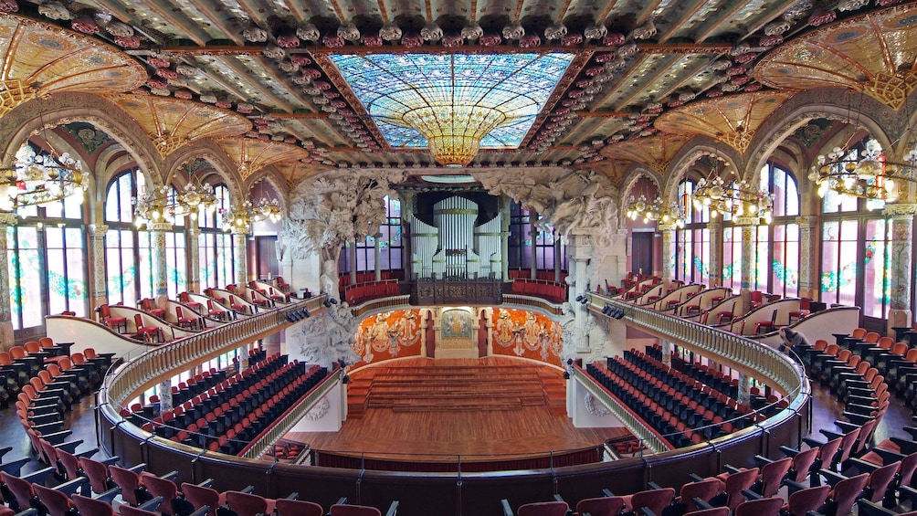 Show item 1 of 5. interior seating inside Palace of Catalan in Barcelona