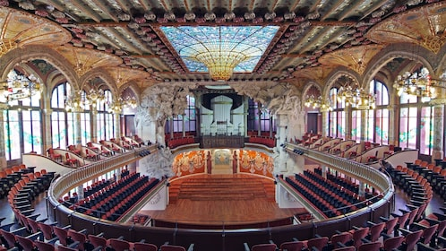 interior seating inside Palace of Catalan in Barcelona