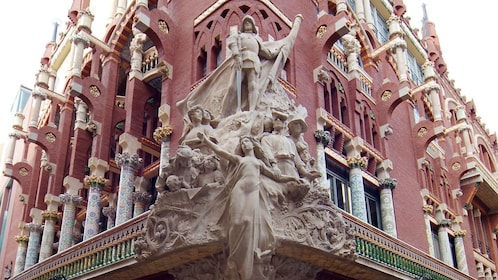 exterior sculpture and artwork of Palace of Catalan in Barcelona