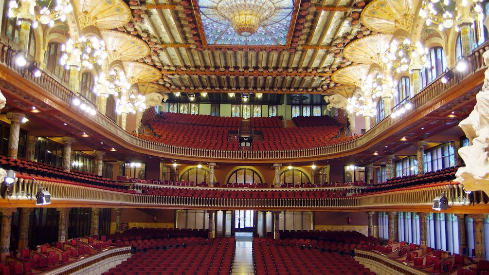 Show item 3 of 5. interior seating inside Palace of Catalan in Barcelona