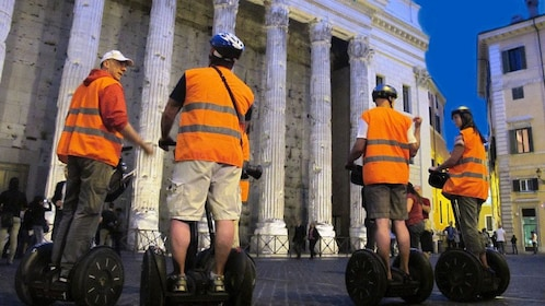 Night group segway tour in front of the Pantheon in Rome Italy