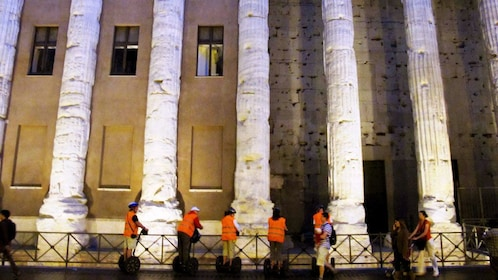 Night segway tour in front of the Pantheon in Rome Italy