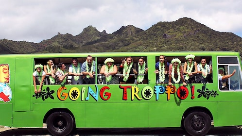 Tour bus in Cook Islands