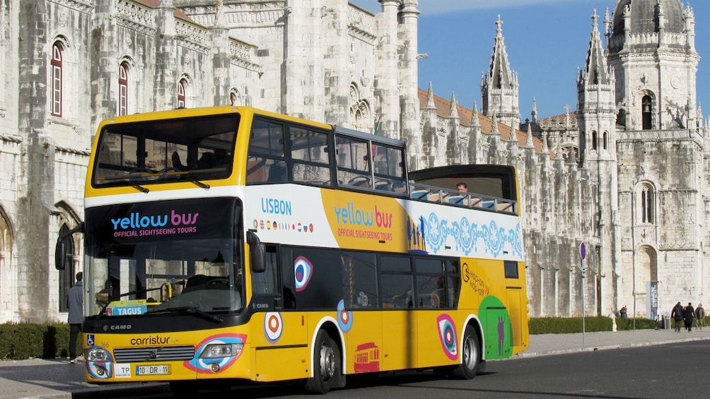 aboard the double decker bus for sightseeing in Portugal
