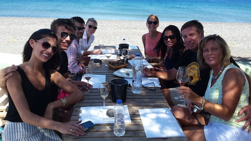 Group enjoying a wine tour in Santorini