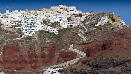 Close view of the mountain hills in Santorini