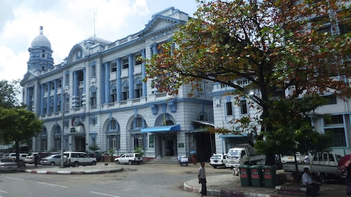 White and blue building in Yangon