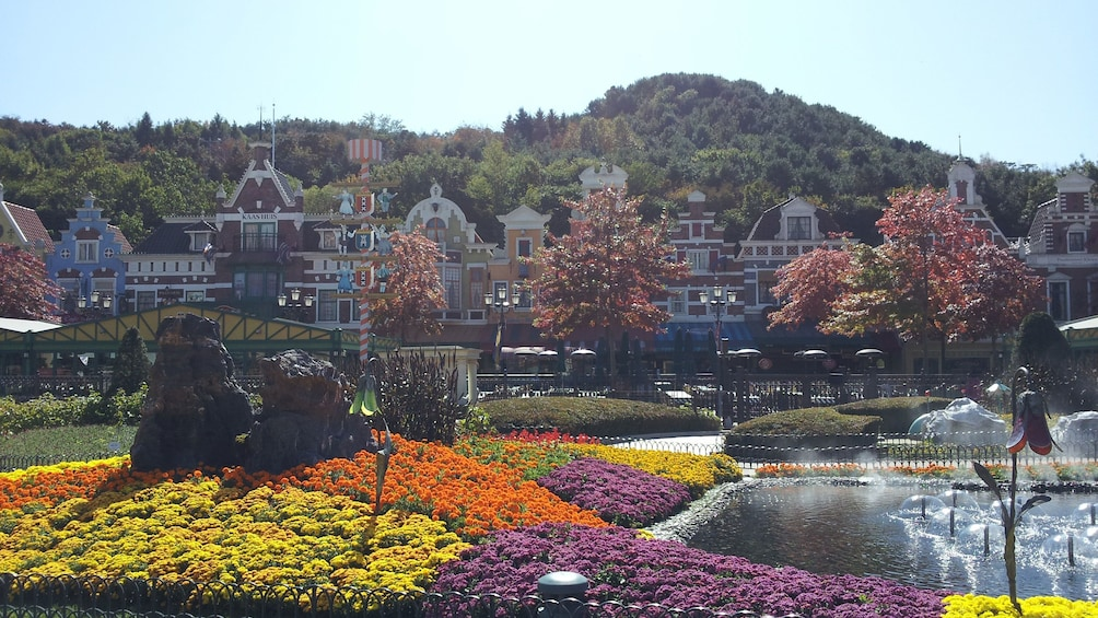 แสดงภาพที่ 1 จาก 5 Colorful flower beds and fountain at Everland Theme Park in South Korea