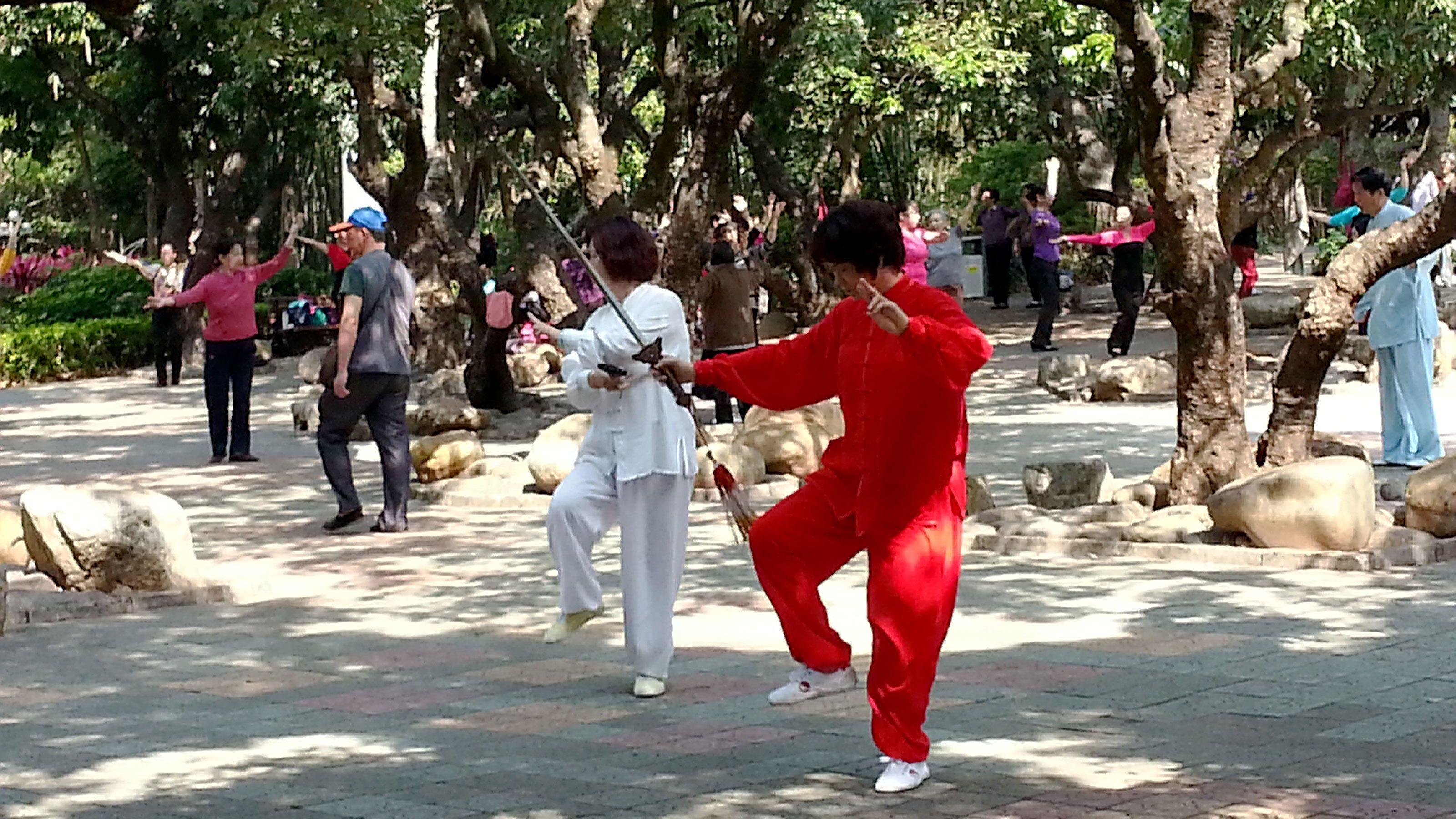 Martial artists at the park in Hong Kong