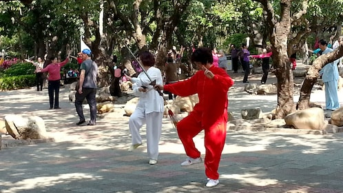 Martial artists at the park in Hong Kong