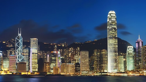 The cityscape from the harbor of Hong Kong