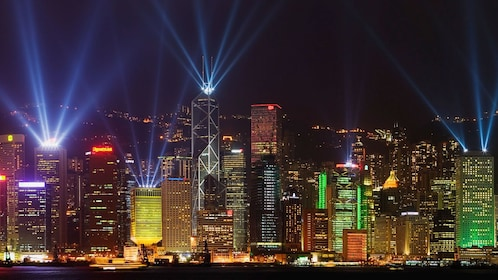 Light show from the skyscrapers in Hong Kong