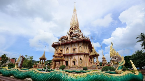 Temple with large snake sculpture in Phuket
