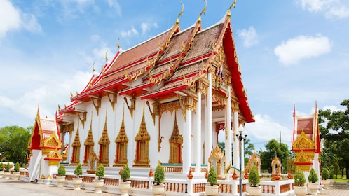 Red and white temple in Phuket