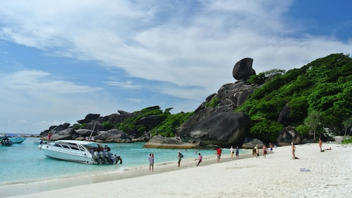 Panoramic view of the people and boats on Similan Islands in Thailand