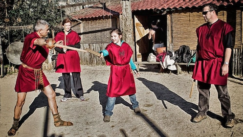 Practicing with swords at Gladiator School in Rome