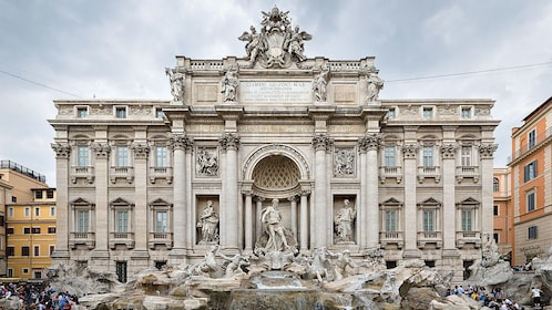 Ornate building at night on Easy Rome tour in Italy