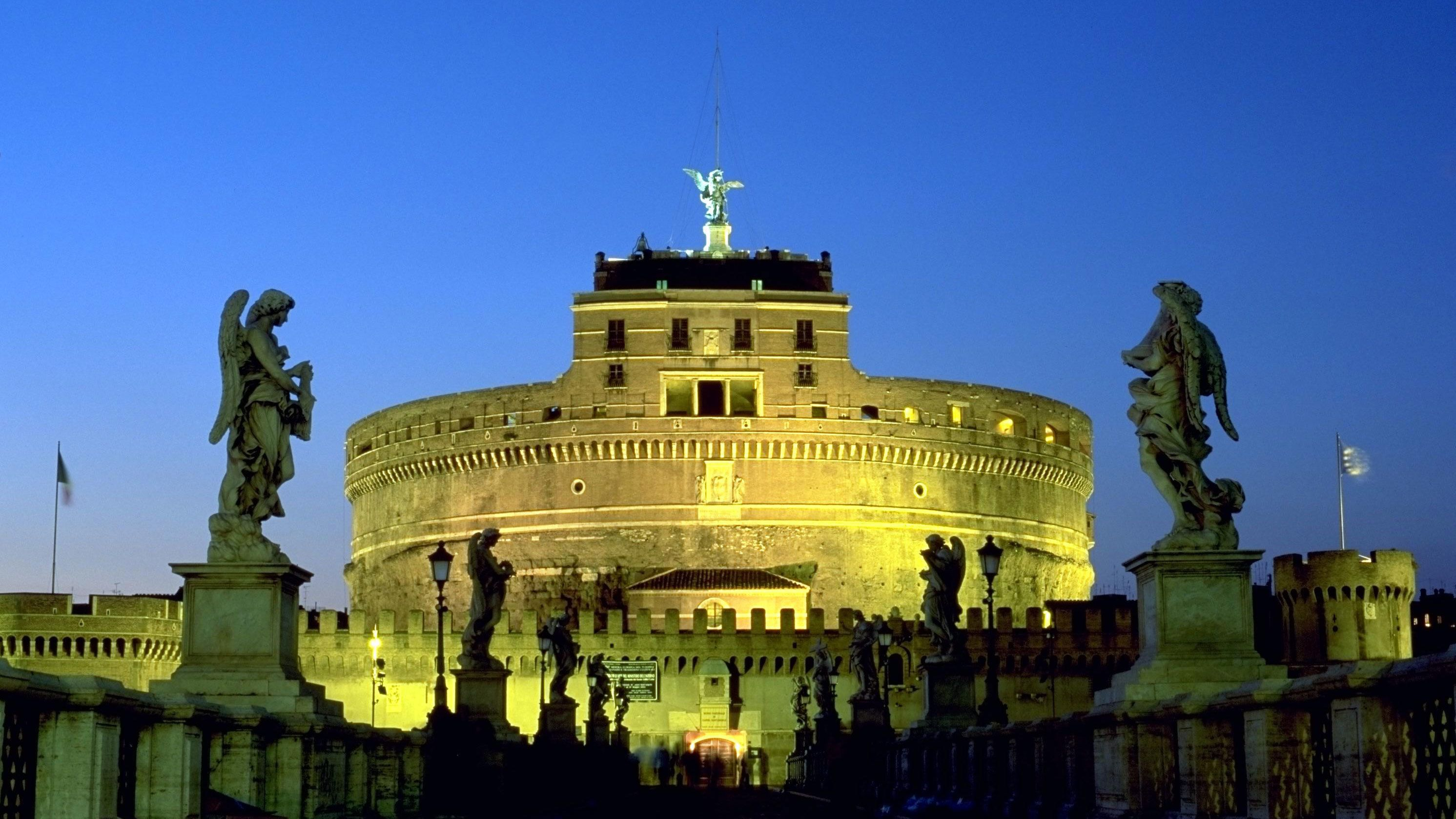 Illuminated building at night on Easy Rome tour in Italy