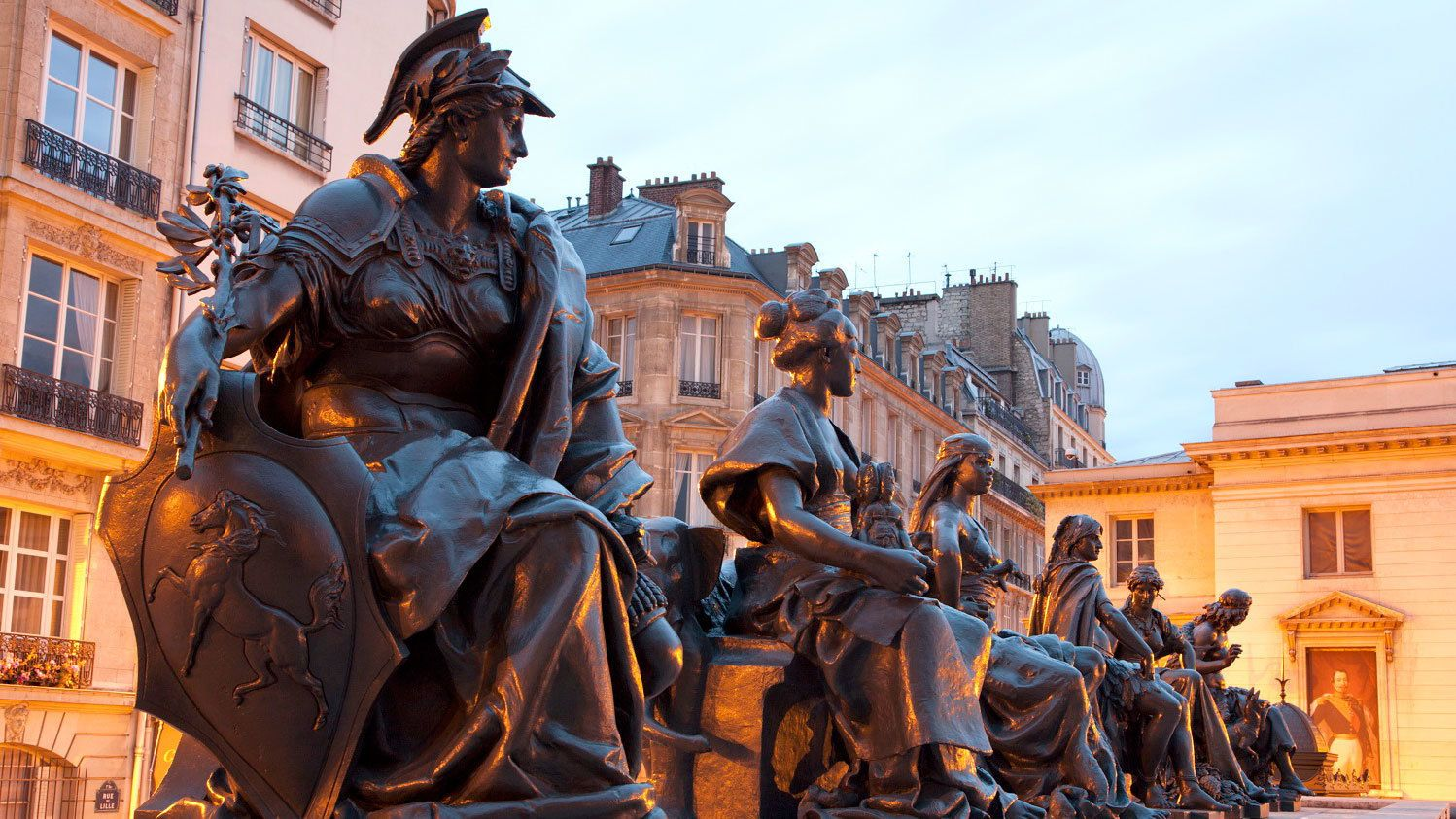 Classical style bronze statues infront of the Orsay museum