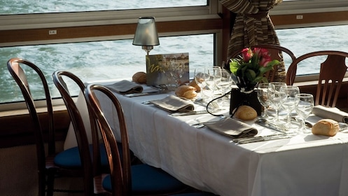 Place setting aboard the ship