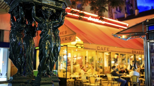 Cafe in Montmartre at night