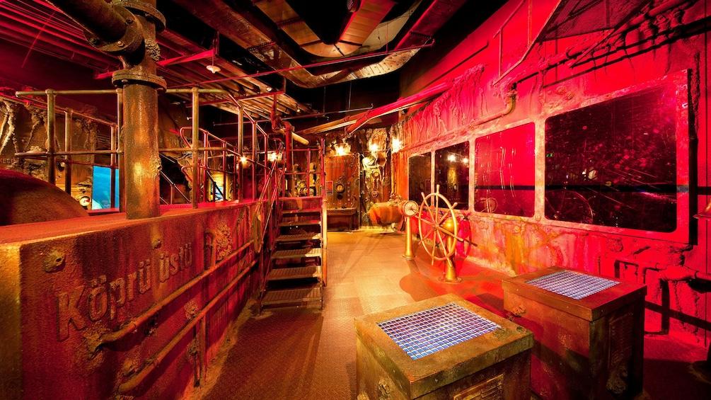Carregar foto 5 de 5. Theme park area that is lit red at the Istanbul Aquarium Theme Park