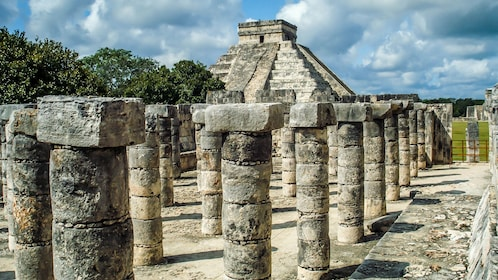 View of the Kukulcán pyramid from the Temple of a Thousand warriors at Chichen Itza