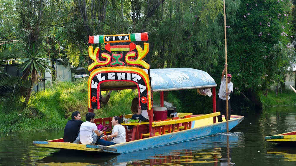 Cargar foto 3 de 10. Small group of people on a colorful boat sailing down the Xochimilco Canals