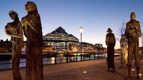 The Famine Memorial at sunset in Dublin