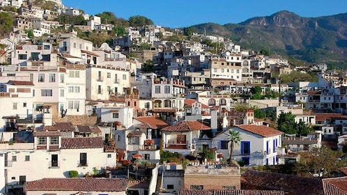Buildings nestled into the hillside in the city of Taxco
