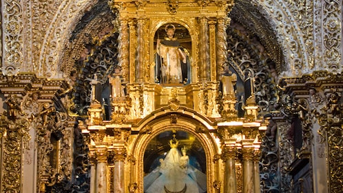 Lavishly decorated interior of Santa Maria Tonantzintla in Puebla