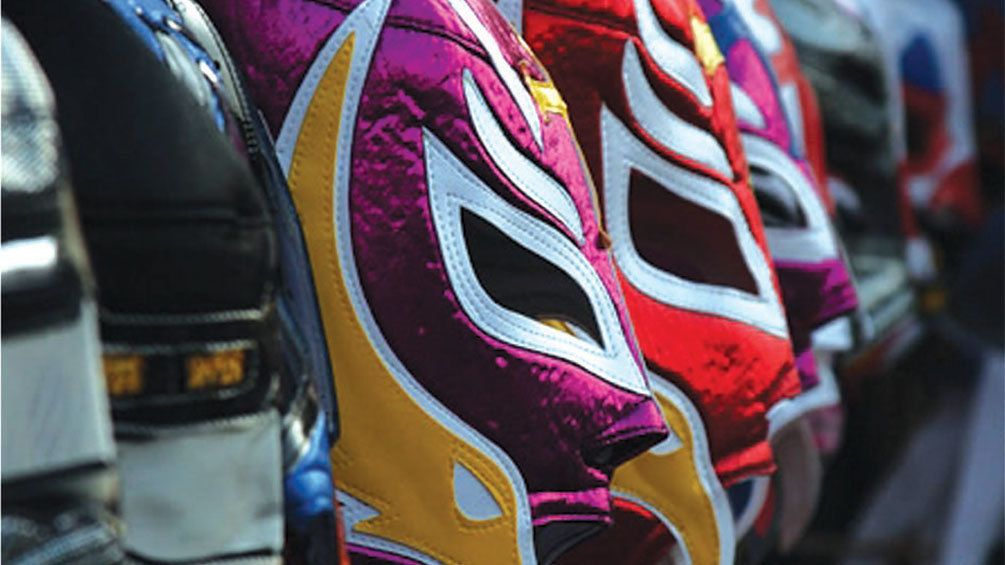 Detail of colorful lucha libre masks