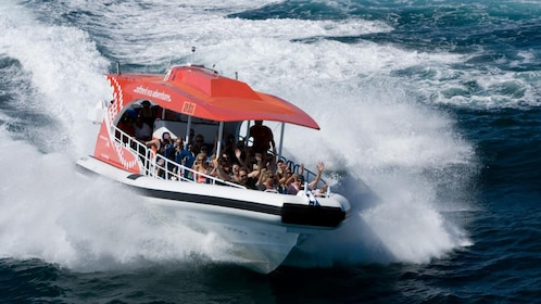 Passengers enjoying the thrills of the speed boat in Australia