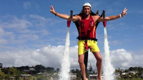 Man posing for photo with hydro jetpack on in Sydney