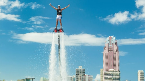 Man flying high with Flyboard in Australia