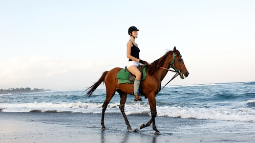 A woman riding a horse on the beach at Saba Bay