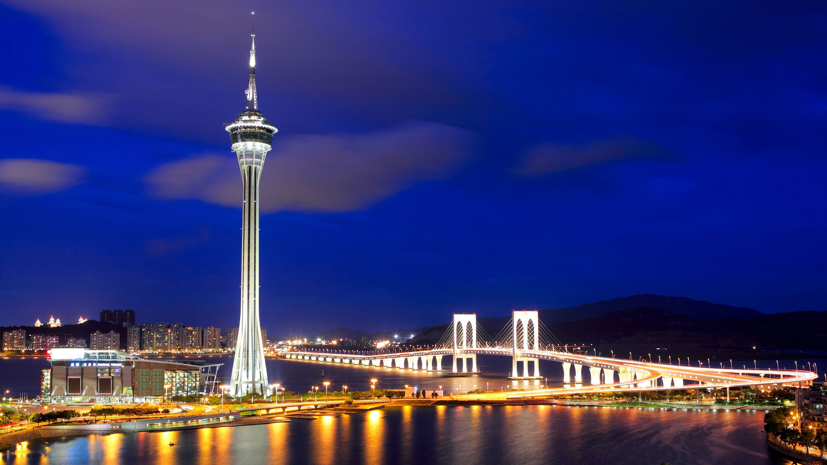 The Macau tower and city at night