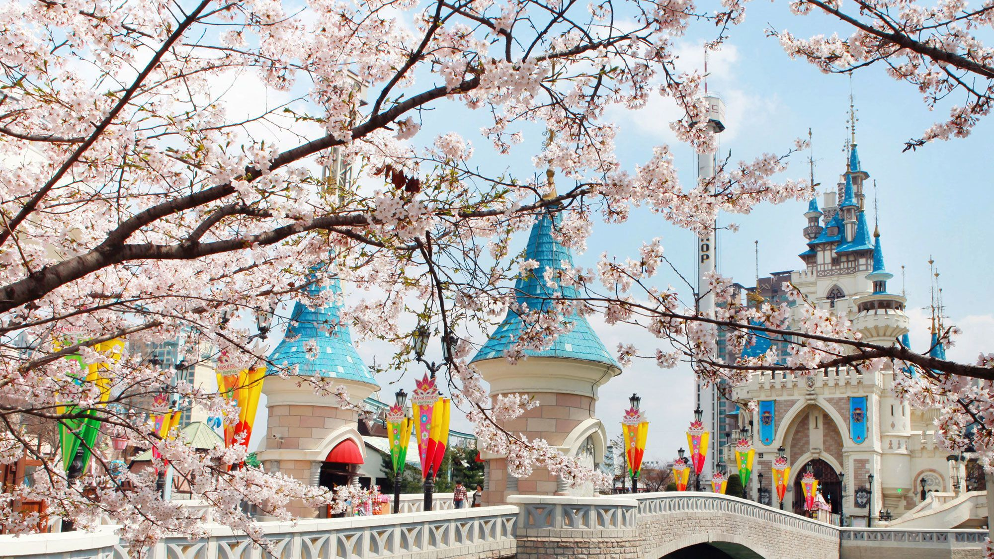 View of the castle at Lotte World Theme Park in Seoul
