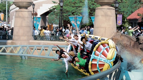 A roller coast in action at the Lotte World Theme Park in Seoul