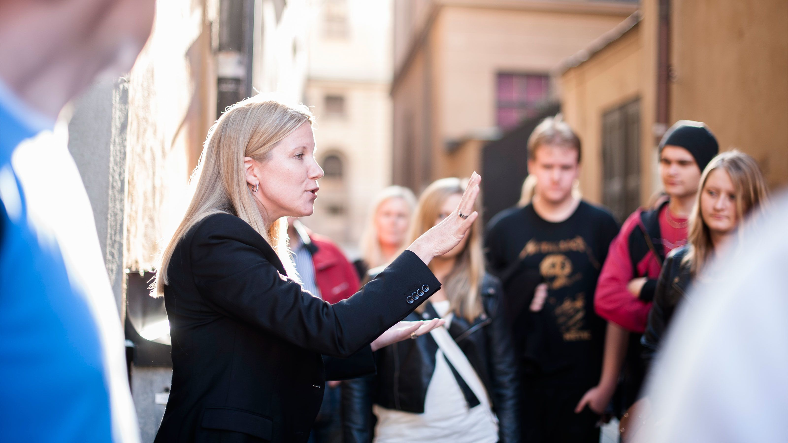 A tour group in Stockholm