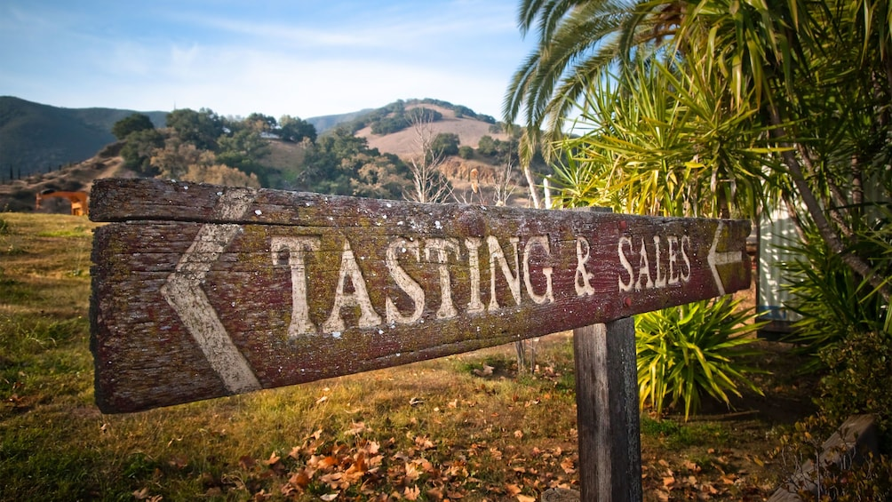 Tasting and Sales sign at a vineyard in San Francisco