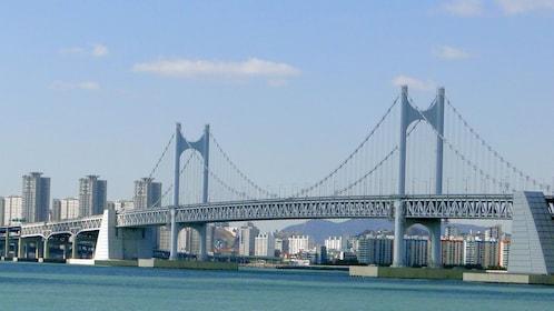 Gwangan Bridge and Gwangan Beach during the day time