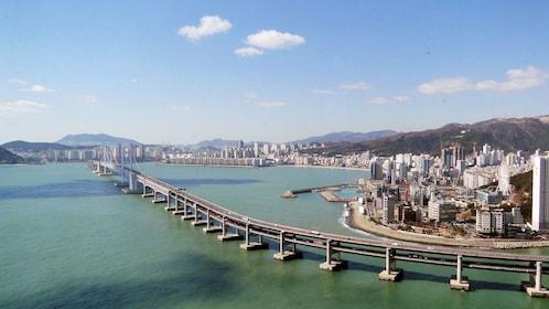Scenic panoramic view of the Gwangan Bridge and Gwangan Beach during the day time