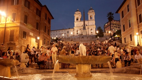 Close up view of the fountain in front of the Spanish Steps in Rome Italy